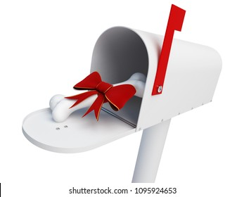 gift for mailbox dog food bone for a dog on a white background 3D illustration, 3D rendering