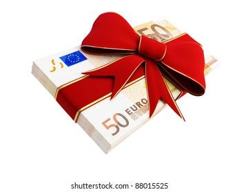 Gift of Money euro  on a white background