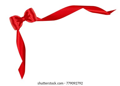 Gift nice silk bow of red ribbon isolated on white background.