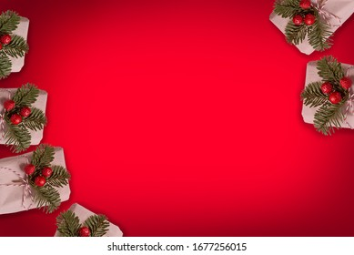 gift on red background in christmas theme