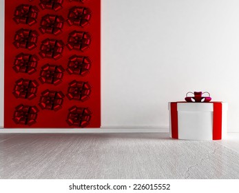 a gift on the white floor