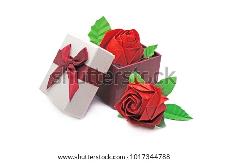 Gift Origami Red Rose Gift Box Stock Photo Edit Now 1017344788