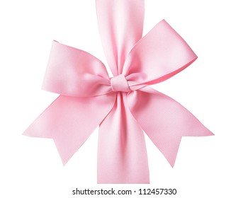 Gift pink ribbon and bow isolated on white background