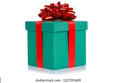 Gift present christmas birthday wedding wish dark green box isolated on a white background