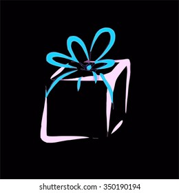 Gift / Present Wrapped Pink Box with Blue Ribbon Bow Abstract Illustration