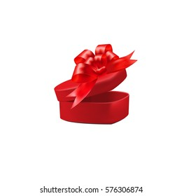 Gift red box with a bow on isolated on white background. Raster illustration