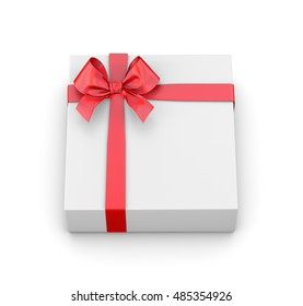 gift with red ribbon on white background -  3D rendering