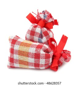 Gift sack cloth bags with red bow
