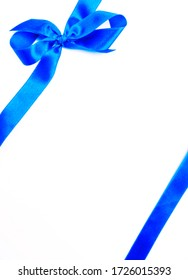 gift satin blue bow ribbon isolated on white, blank gift with copy space,