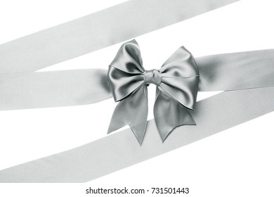 Gift silver bow with ribbon for presents Isolated on white background