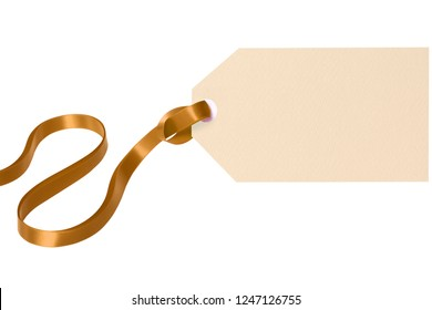 Gift tag gold ribbon isolated white background