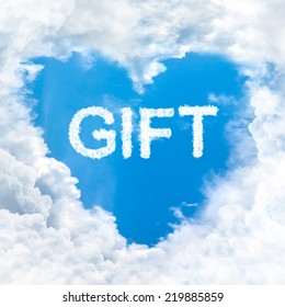 gift word nature on blue sky inside love heart cloud form