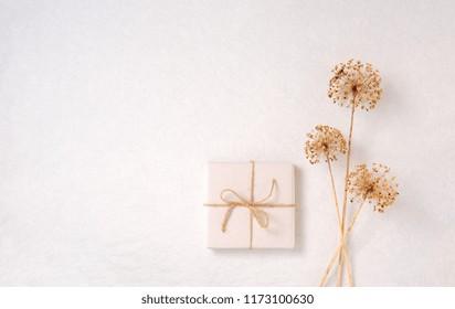 Gift wrap, dried allium over white background