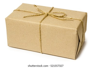 gift wrapping from Kraft paper wrapped with twine, the concept of handmade, isolated on white background