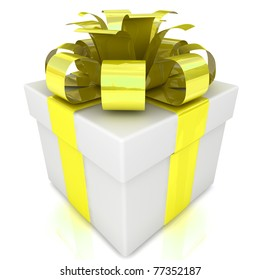Gift with yellow bow and ribbons.