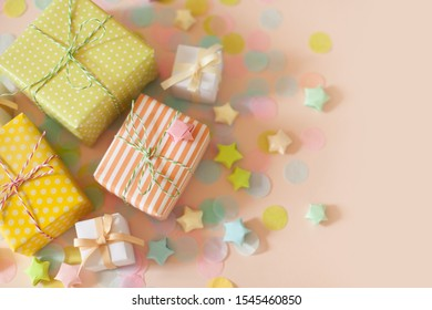 Gifts for a birthday, party or new year. Delicate pastel colors.