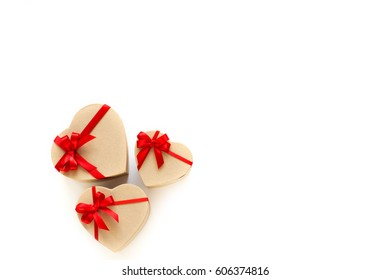 Gifts boxes shape heart isolated on white background.