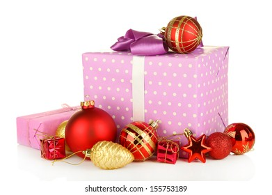 Gifts with christmas balls, isolated on white