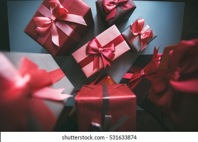 Gifts for Christmas. Stylish boxes with gifts.