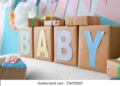 Gifts and decorations for baby shower party indoors