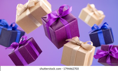 Gifts in flying boxes, wrapped in blue, purple and kraft paper with bow on lilac background. Sale, discounts. - Shutterstock ID 1794462703