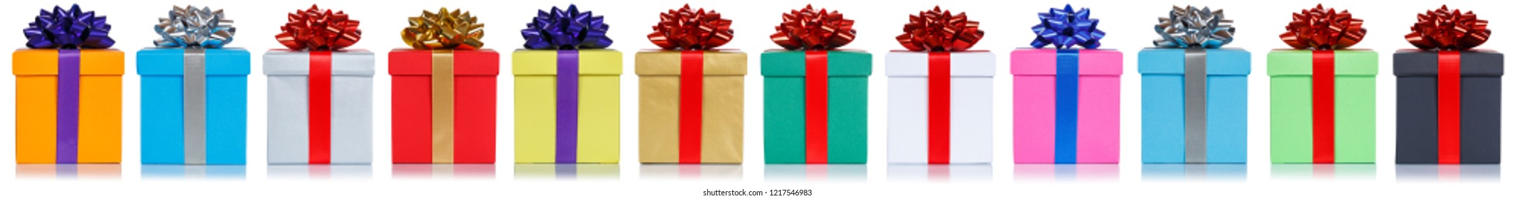 Gifts gift christmas birthday presents in a row isolated on a white background
