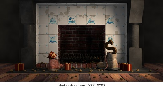 Gifts left in shoes by the fireplace, or 'schoen zetten' for the traditional Dutch holiday Sinterklaas, 3d render.