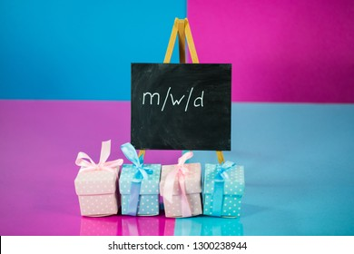 gifts in pink and blue, male, female, diverse