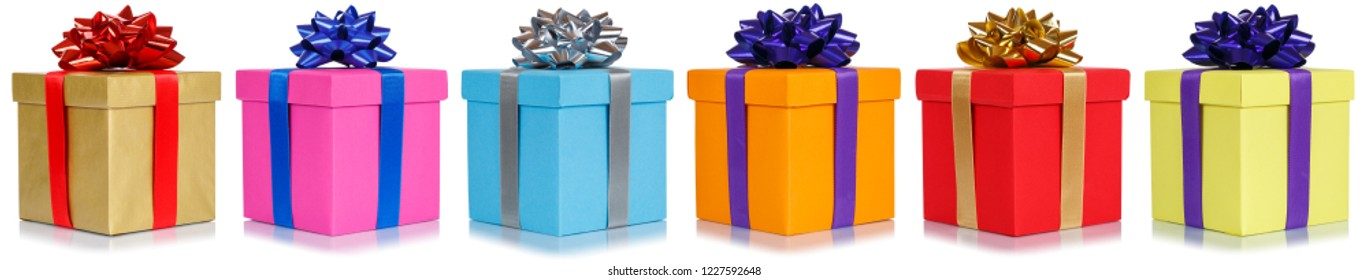 Gifts presents Christmas birthday gift in a row isolated on a white background