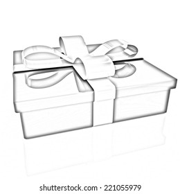 Gifts with ribbon on a white background. Pencil drawing