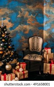 Gifts under the Christmas tree. Christmas background