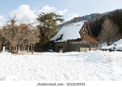 Gifu, Japan, 19/2/2016 - The Historic Villages of Shirakawago Traditional Houses in the Gassho Style