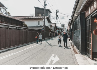 Gifu, Japan - April 9, 2017: Tourists walking in Sanmachi Suji in Takayama. Featuring japanese traditional style wooden building
