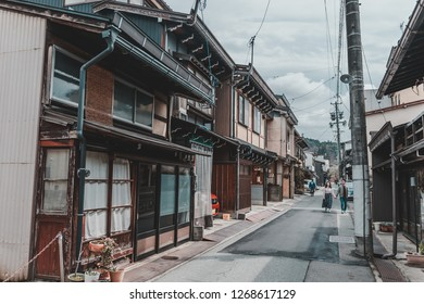 Gifu, Japan - April 9, 2017: Japanese traditional style wooden building in Sanmachi Suji in Takayama, one of the most popular tourist destination.