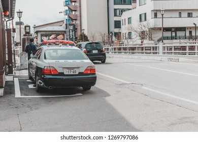 Gifu, Japan - April 9, 2017: Japanese Police Car parked in front of Koban or Police Box in Sanmachi Suji, Takayama.