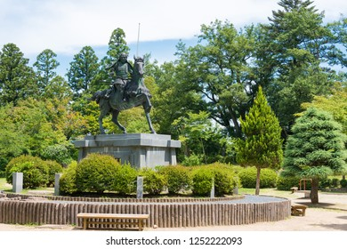 Gifu, Japan - Aug 02 2017- Kanamori Nagachika Statue at Ruins of Tkayama castle in Shiroyama Park. a famous historic site in Takayama, Gifu, Japan.