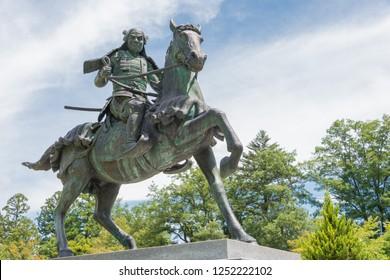 Gifu, Japan - Aug 02 2017- Kanamori Nagachika Statue at Ruins of Takayama castle in Shiroyama Park. a famous historic site in Takayama, Gifu, Japan.