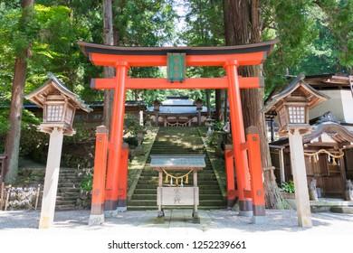 Gifu, Japan - Aug 02 2017- Hie Shrine. a famous historic site in Takayama, Gifu, Japan.