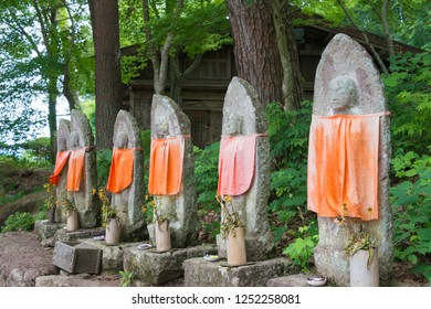 Gifu, Japan - Aug 03 2017- Jizo Statues at Hida Folk Village. a famous open-air museum and historic site in Takayama, Gifu, Japan.