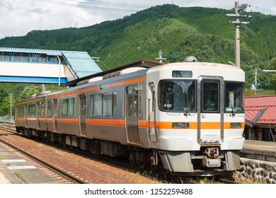Gifu, Japan - Aug 03 2017- KiHa 25 at Hida-Ichinomiya Station in Takayama, Gifu, Japan. KiHa25 is a diesel multiple unit train type operated by the Central Japan Railway Company (JR Central) in Japan.