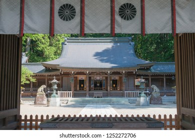 Gifu, Japan - Aug 03 2017- Hida Ichinomiya Minashi Shrine. a famous historic site in Takayama, Gifu, Japan.