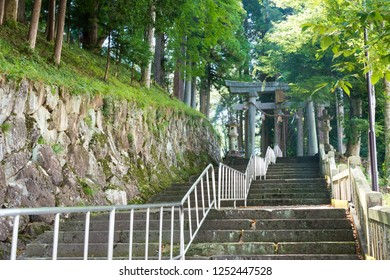 Gifu, Japan - Aug 04 2017- Approach to Keta Wakamiya Shrine. a famous historic site in Hida, Gifu, Japan.