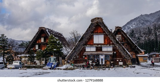 Gifu, Japan - Dec 29, 2015. Historic Village of Shirakawago at winter in Gifu, Japan. Shirakawago is one of Japan UNESCO World Heritage Sites.