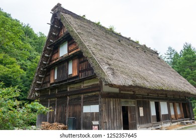 Gifu, Japan - Jul 30 2017- Old Higashi Shina Family House at Gasshozukuri Minkaen Outdoor Museum in Shirakawago, Gifu, Japan. a famous historic site.