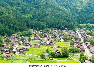 Gifu, Japan - Jul 30 2017- Gassho-zukuri houses at Ogimachi Village in Shirakawago, Gifu, Japan. It is part of UNESCO World Heritage Site - Historic Villages of Shirakawa-go and Gokayama.
