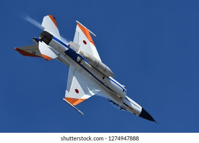 Gifu, Japan - November 14, 2018: Japan Air Self Defense Force F-2A multirole fighter performs at Gifu AB.