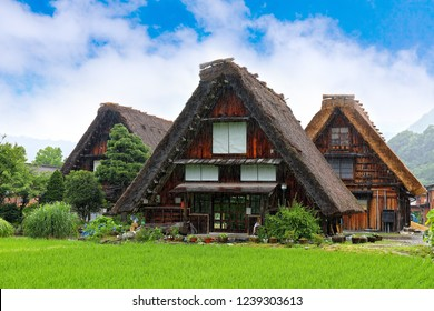 gifu prefecture,Japan - May 4th ,2018 :Gassho Zukuri Folk Village Shirakawago . These villages are well known for their houses constructed in the architectural style known as gasshō-zukuri .