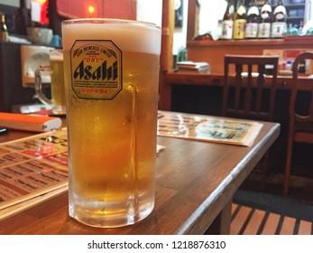 GIFU,JAPAN-NOVEMBER 21,2018:'ASAHI' Beer in TAKAYAMA IZAKAYA local bar and restaurant