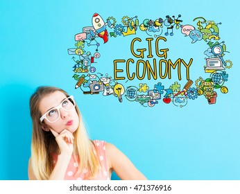Gig Economy concept with young woman in a thoughtful pose