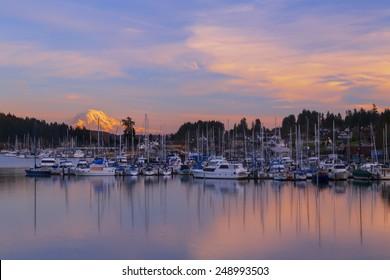 Gig Harbor at Sunset. Gig Harbor, WA USA - January,20 2015. Gig Harbor is a popular tourism destination on Puget Sound.